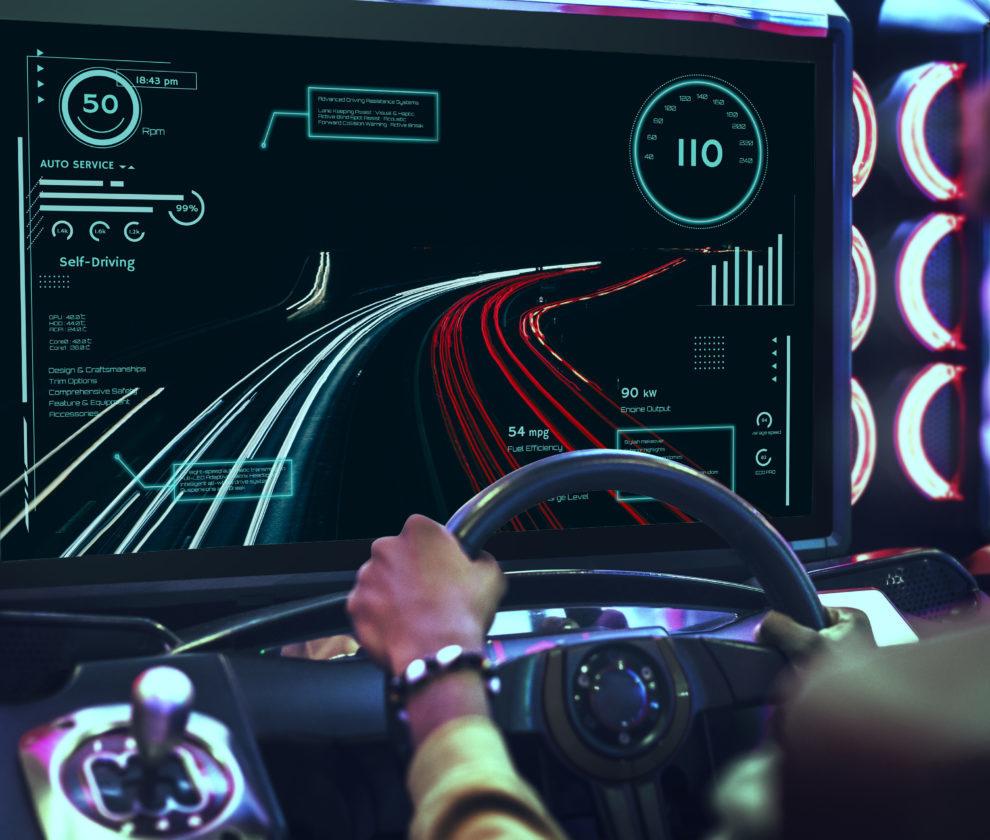 Car racing video game at an arcade